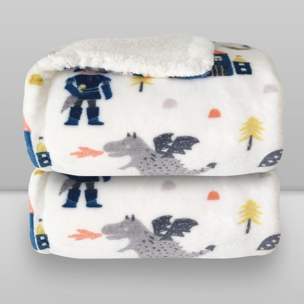 Cobertor Laço Bebê Plush Print com Sherpa Knight