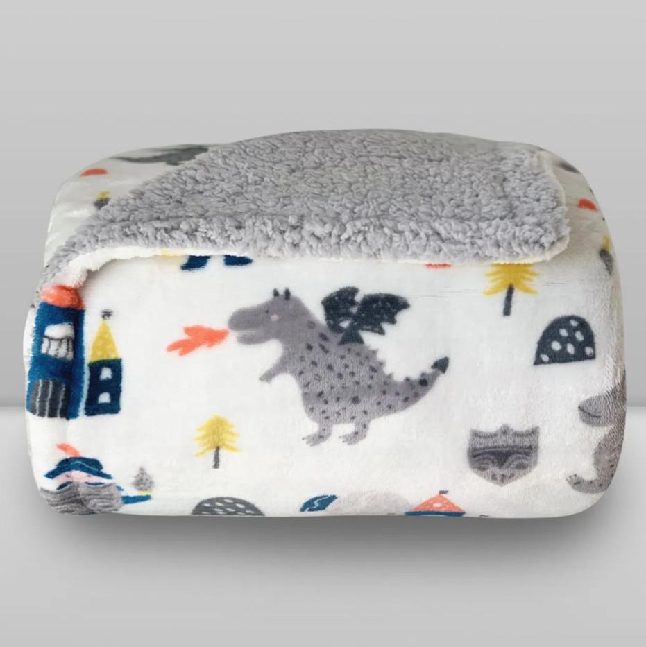 Cobertor Laço Kids Plush Print com Sherpa Knight