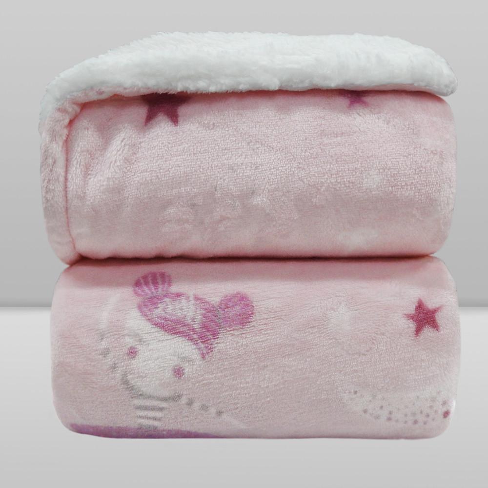Cobertor Laço Bebê Plush Print com Sherpa Bailarina