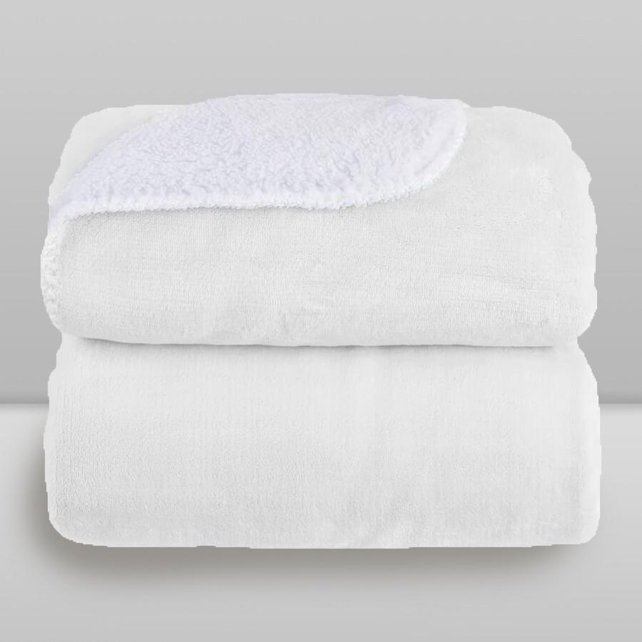 Cobertor Laço Bebê Microfibra Plush com Sherpa Branco