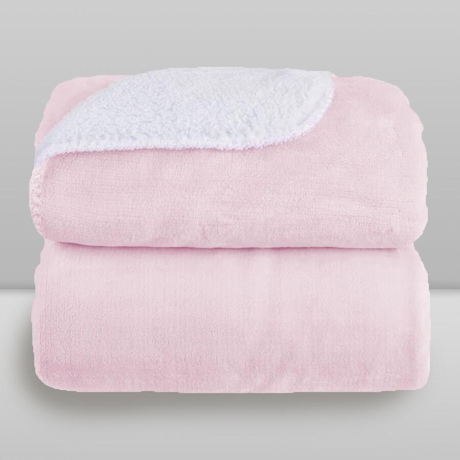 Cobertor Laço Bebê Microfibra Plush com Sherpa Rosa