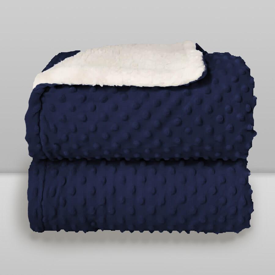 Cobertor Laço Bebê Plush com Sherpa Dots Azul Navy