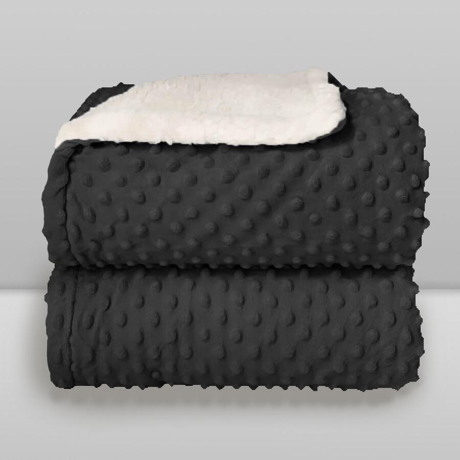 Cobertor Laço Bebê Plush com Sherpa Cinza Chumbo