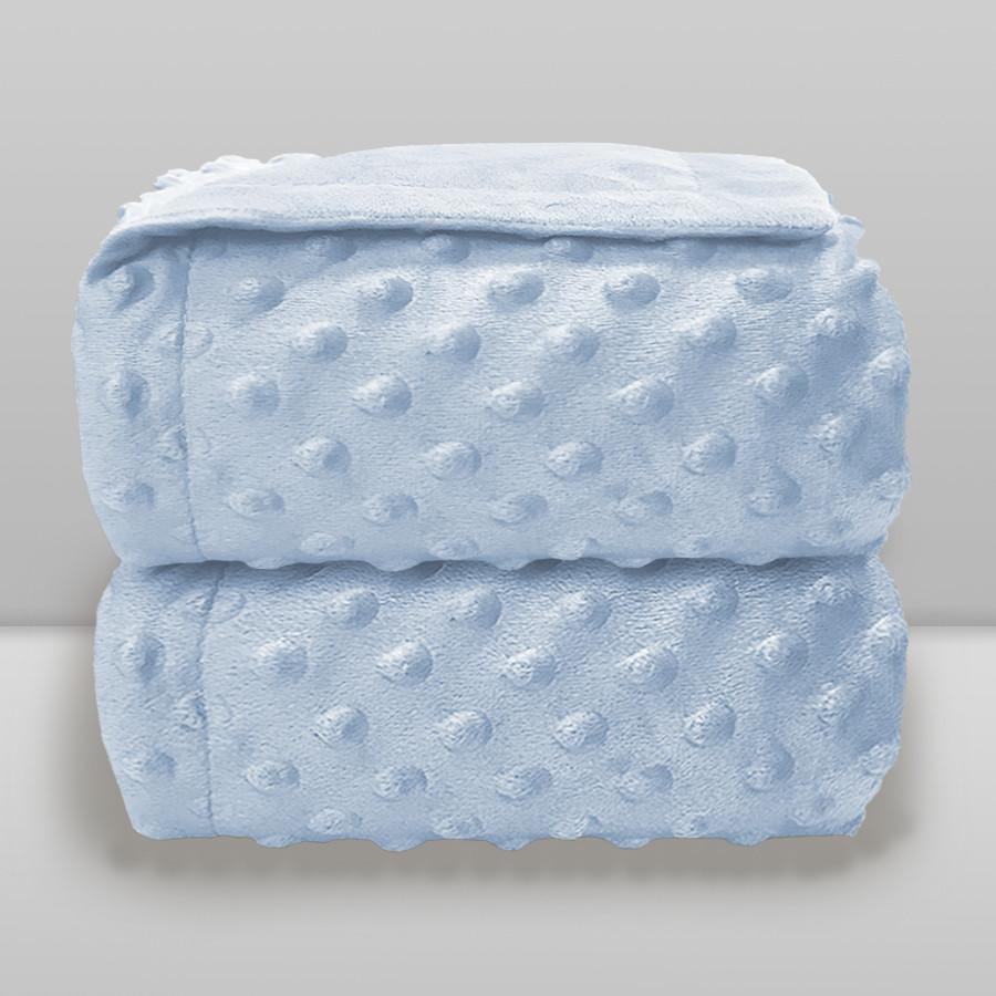 Cobertor Laço Bebê Plush Dots Azul Baby