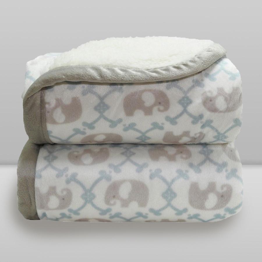 Cobertor Laço Bebê Elefante com Sherpa Azul