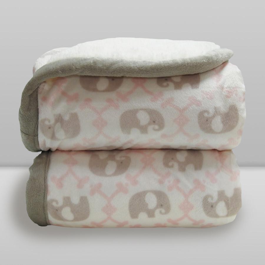 Cobertor Laço Bebê Elefante com Sherpa Rosa