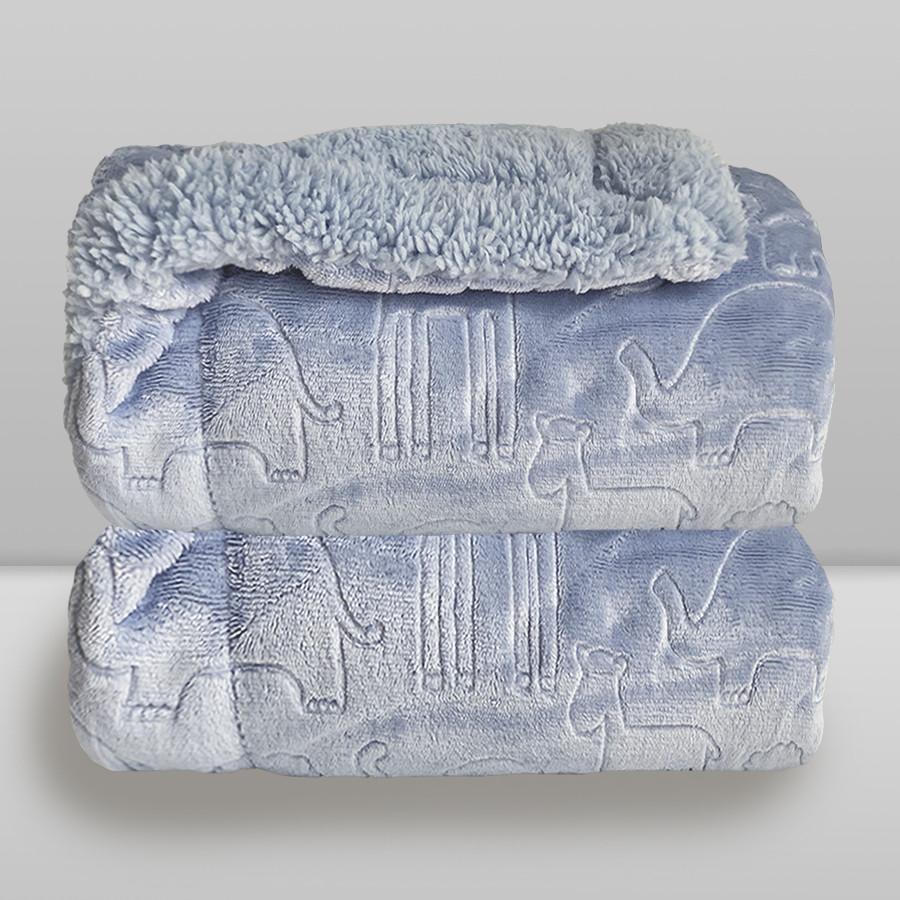 Cobertor Laço Bebê Plush com Sherpa Ferrete Azul Cash