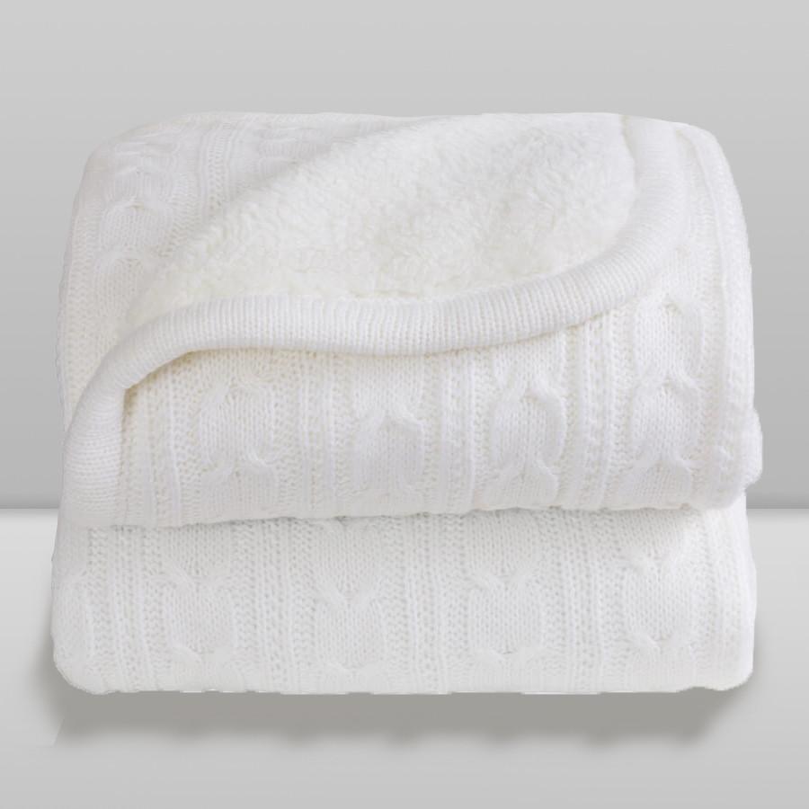 Cobertor Laço Bebê Lã com Sherpa Marfim