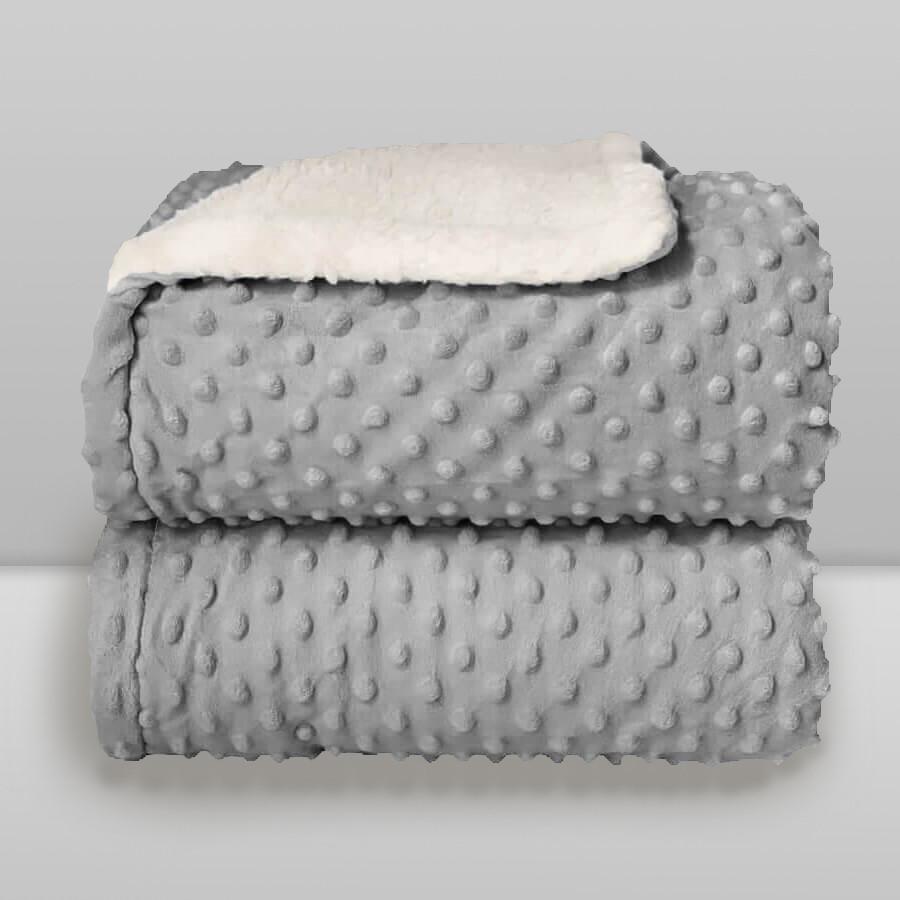 Cobertor Laço Bebê Plush com Sherpa Dots Cinza Glacial