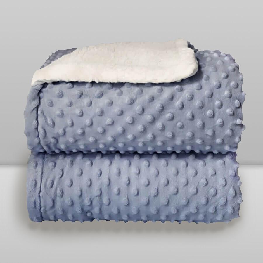 Cobertor Laço Bebê Plush com Sherpa Dots Azul