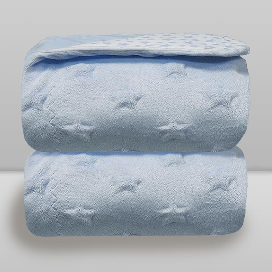Cobertor Laço Bebê Star Azul Bebê - Dupla Face