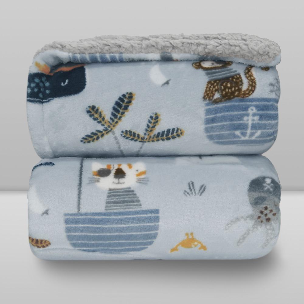 Cobertor Laço Bebê Plush Print com Sherpa Piratas