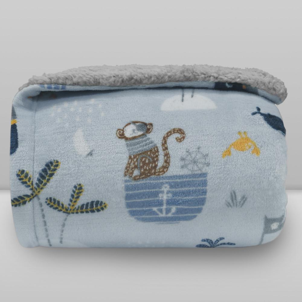 Cobertor Laço Kids Plush Print com Sherpa Piratas