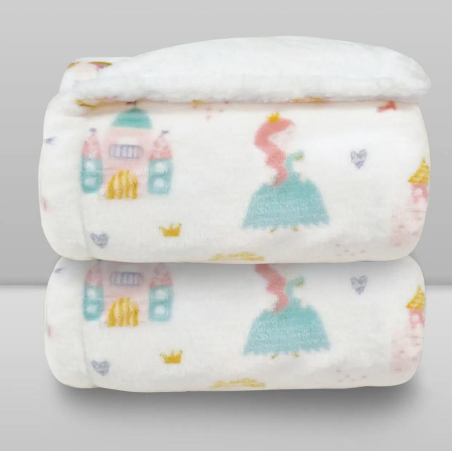 Cobertor Laço Bebê Plush Print com Sherpa Princess