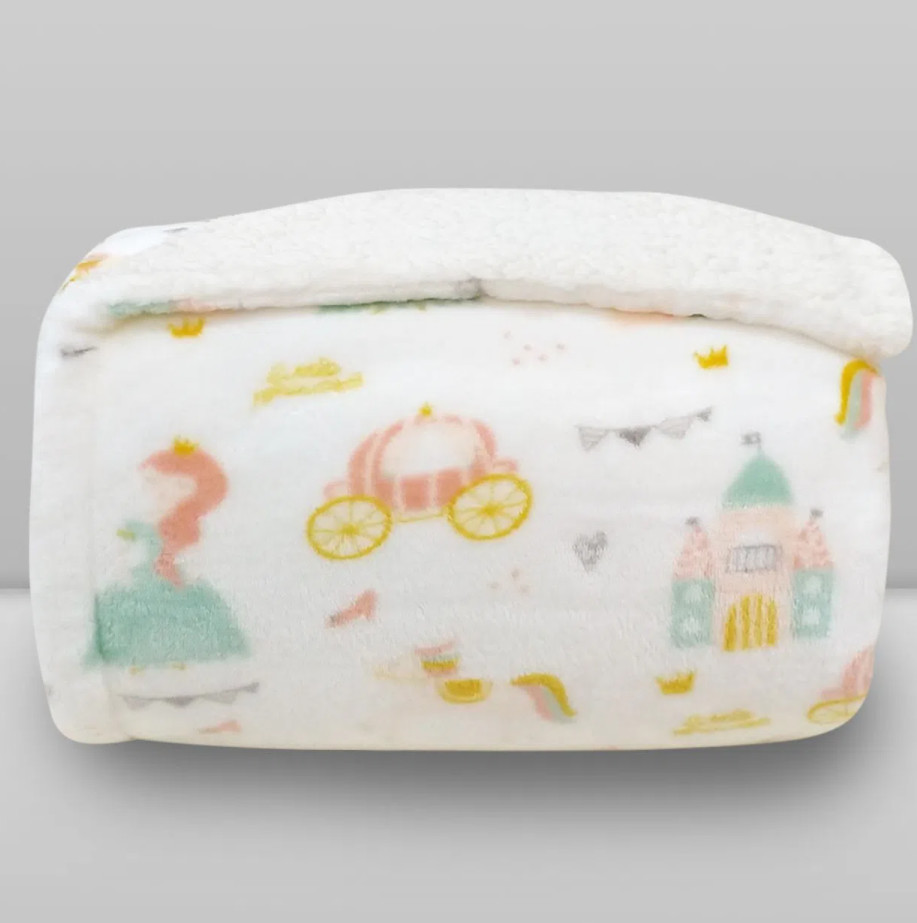 Cobertor Laço Kids Plush Print com Sherpa Princess