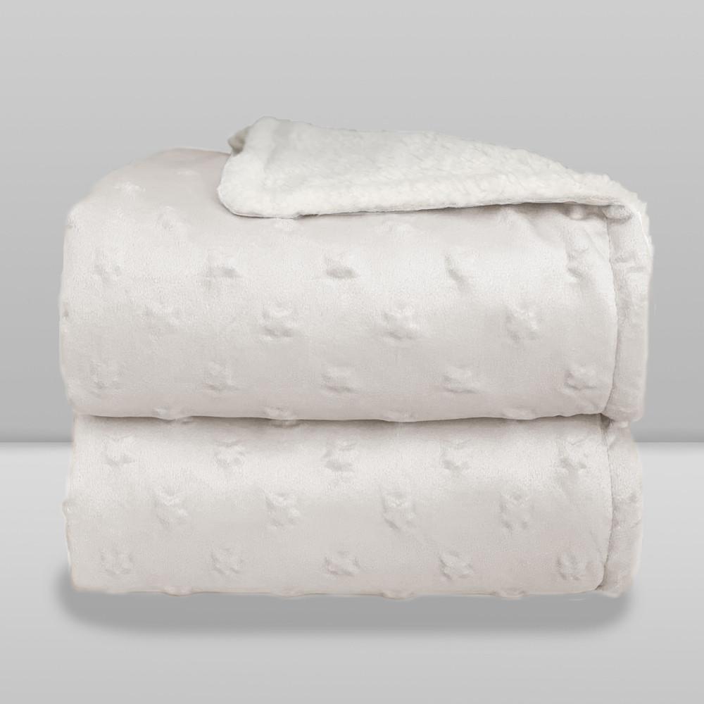 Cobertor Laço Bebê Plush com Sherpa Stars Branco