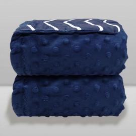 Cobertor Laço Bebê Dots e Chevron Azul Navy - Dupla Face
