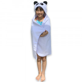 Toalha com Capuz Kids Laço Divertida Panda Branco
