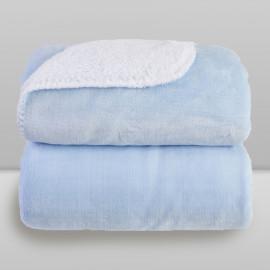 Cobertor Laço Bebê Microfibra Plush com Sherpa Azul