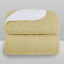 Cobertor Laço Bebê Microfibra Plush com Sherpa Kaki