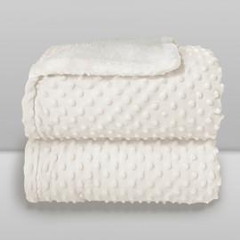 Cobertor Laço Bebê Plush com Sherpa Dots Branco