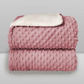 Cobertor Laço Bebê Plush com Sherpa Dots Rosa