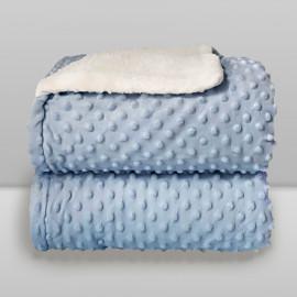 Cobertor Laço Bebê Plush com Sherpa Dots Azul Baby