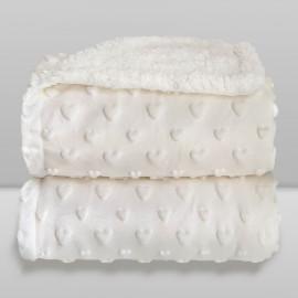 Cobertor Laço Bebê Plush com Sherpa Hearts Branco