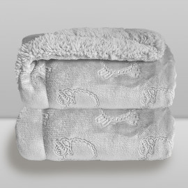Cobertor Laço Bebê Plush com Sherpa Ferrete Cinza