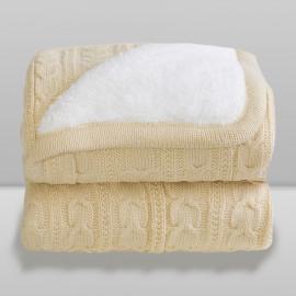 Cobertor Laço Bebê Lã com Sherpa Kaki